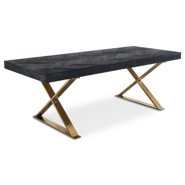 Bordeaux Dining Table with Brass X-Legs