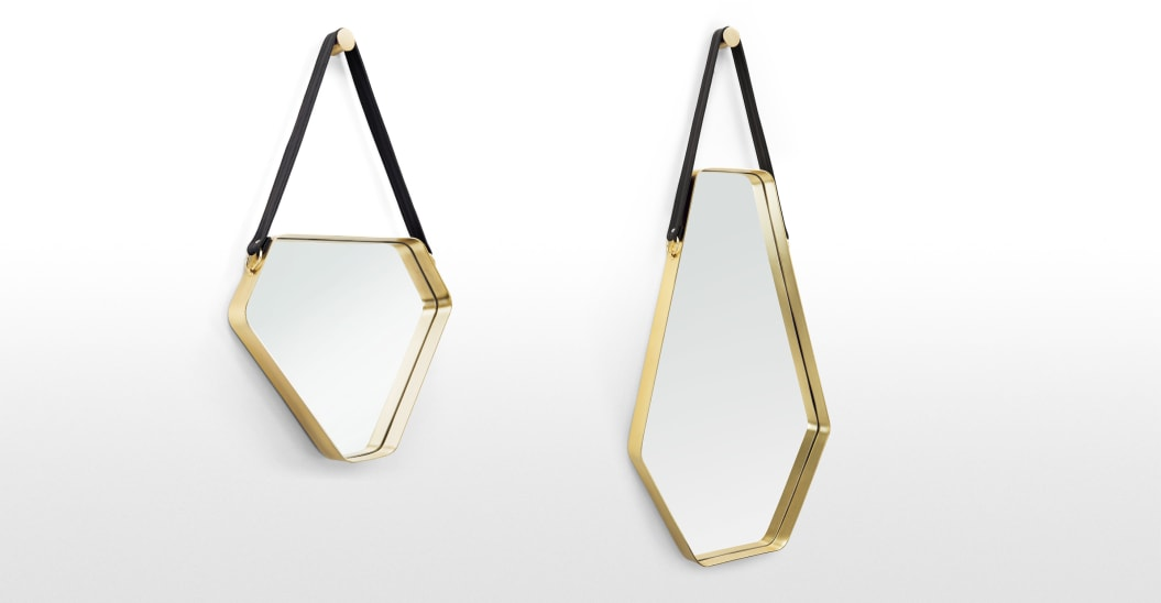 CORA LARGE MIRROR 45 X 100 CM, BLACK AND GOLD
